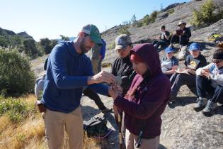 Student's measuring stratigraphic sections