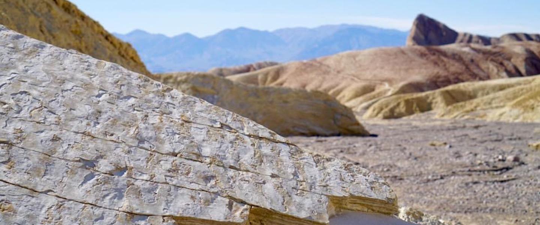Ripple marks on sedimentary strata in the desert