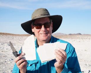 Matt James Holding Fish Fossils