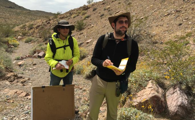 Students mapping in the field
