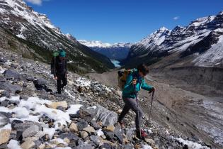 Students hiking above Lake Louise